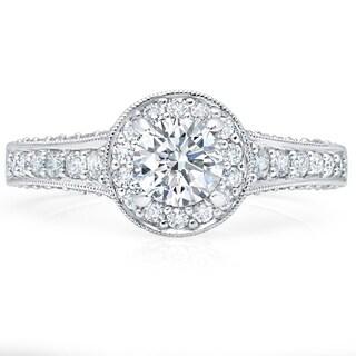 LeZari & Co. 1.25ct TDW Three sided Antique style Round Halo Pave Diamond Engagement Ring Tapered Shank 18K White Gold