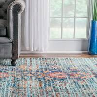 nuLoom Traditional Flower Persian Distressed Aqua/Blue/Orange Indoor Rectangular Rug - 9' x 12'