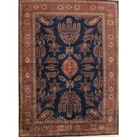 "Pasargad Sarouk Collection Hand-Knotted Navy/Rust Wool Rug ( 9' 0"" X 12' 6"")"