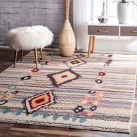 nuLoom Moroccan Striped Diamonds Multi Rug (6'7 x 9')