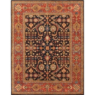 Pasargad Blue/Rust Collection Wool/Silk Hand-tufted Modern Area Rug (7'6 x 9'6)