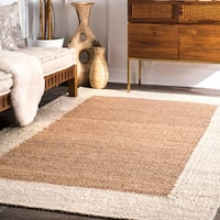 nuLoom Natural Jute Handmade Border Area Rug (5' x 8') - 5' x 8'