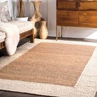 Nuloom Hand-woven Off-white/ Cream Jute Wide Border Area Rug (7'6 x 9'6)