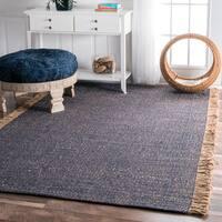 nuLOOM Handmade Solid Blue/ Tan Flatweave Tassel Area Rug - 6' x 9'