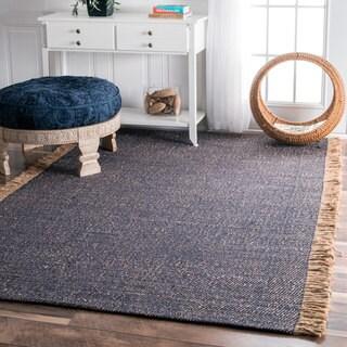 nuLOOM Handmade Solid Blue/ Tan Flatweave Tassel Area Rug (6' x 9') - 6' x 9'