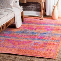 nuLOOM Vintage Inspired Hidden Mirage Medallion Orange Rug (5' x 8') - 5' x 8'