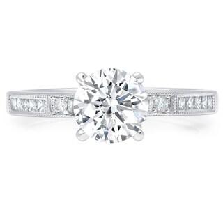 LeZari & Co. Modern Classic Round, Square cut Diamond Engagement Ring Millgrain Beaded edges Channel Pave set 18K White Gold