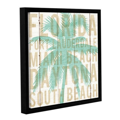 Michael Mullan's Bon Voyage Florida Palm, Gallery Wrapped Floater-framed Canvas - multi