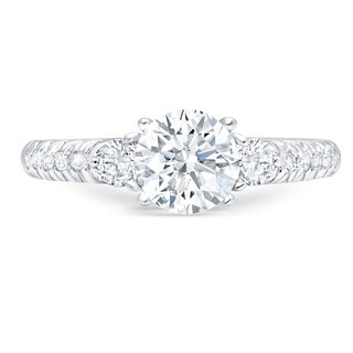 LeZari & Co. 1.50ct TDW Modern French Pave set Round cut Diamond Engagement Ring 4 prong setting 18K White Gold