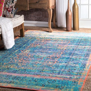 nuLOOM Multi Vintage Inspired Faded Chromatic Nightfall Medallion Area Rug