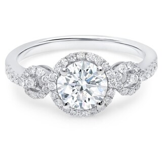 LeZari & Co 1.45ct TDW with 1.01ct Center diamond with halo, U Pave set 3 stone design engagement anniversary ring in 18K gold.