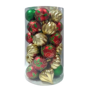 Combo 30Pk Ball Ornament Red/Green/Gold