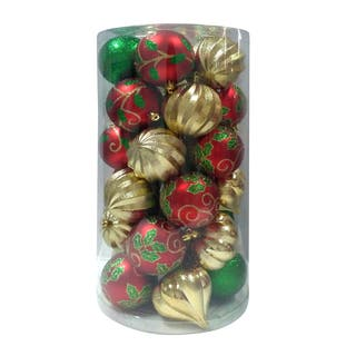 Combo 30Pk Ball Ornament Red/Green/Gold|https://ak1.ostkcdn.com/images/products/18184424/P24330350.jpg?impolicy=medium