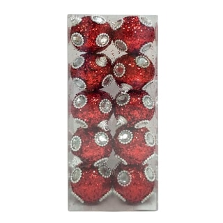 Red Silver 10Pk Tinsel Jewel