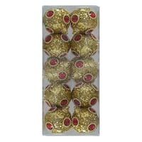 Red Gold 10Pk Tinsel Jewel