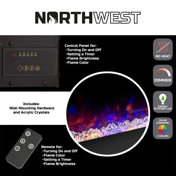 Electric Fireplace Wall Mounted Color Changing Led