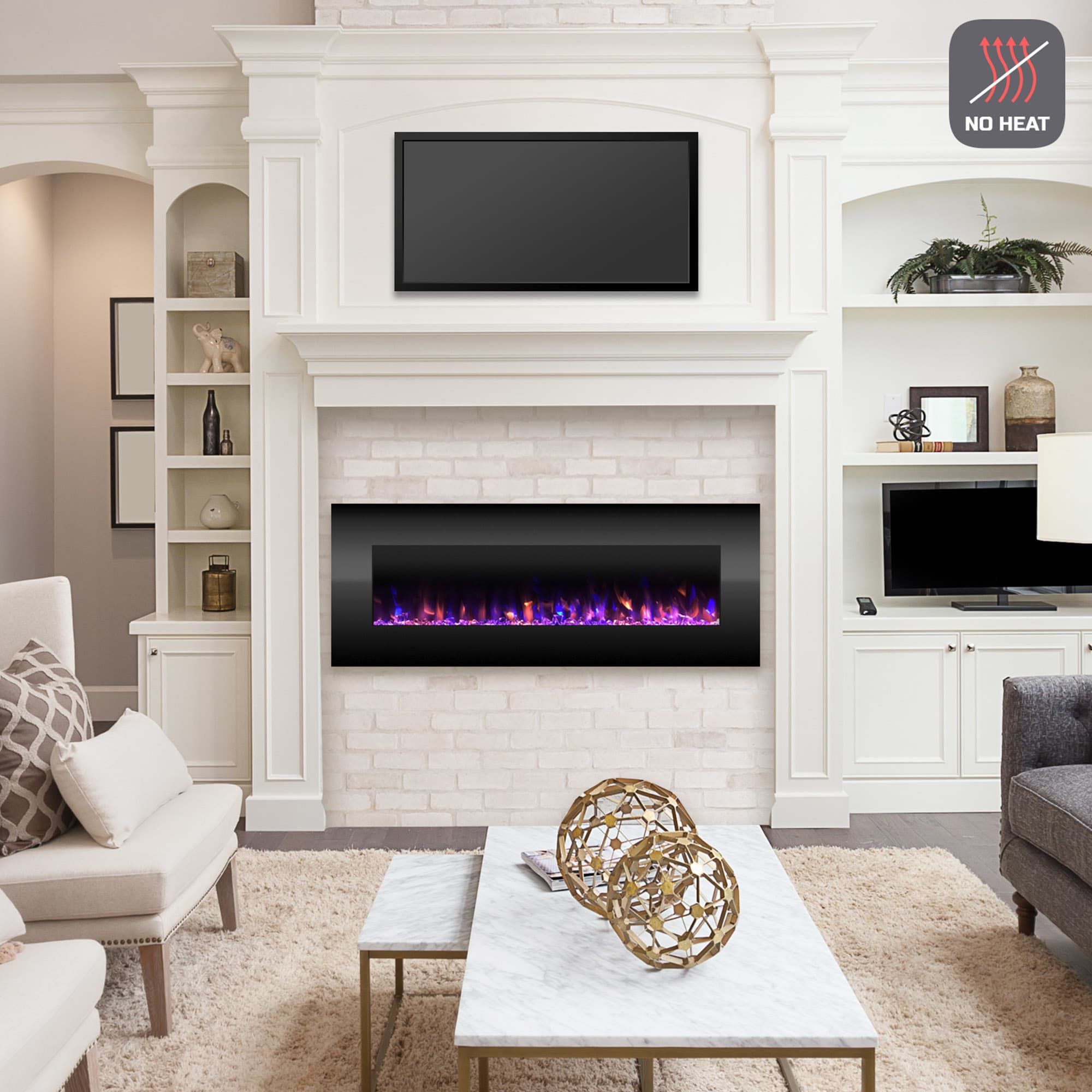 Electric Fireplace Wall Mounted Color Changing Led Fire And Ice Flames No Heat Remote Control 54 Inch By Northwest