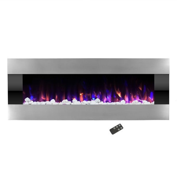 Electric Fireplace-Wall Mounted with LED Fire and Ice Flame, Adjustable Heat & Remote Control- 54 inch by Northwest