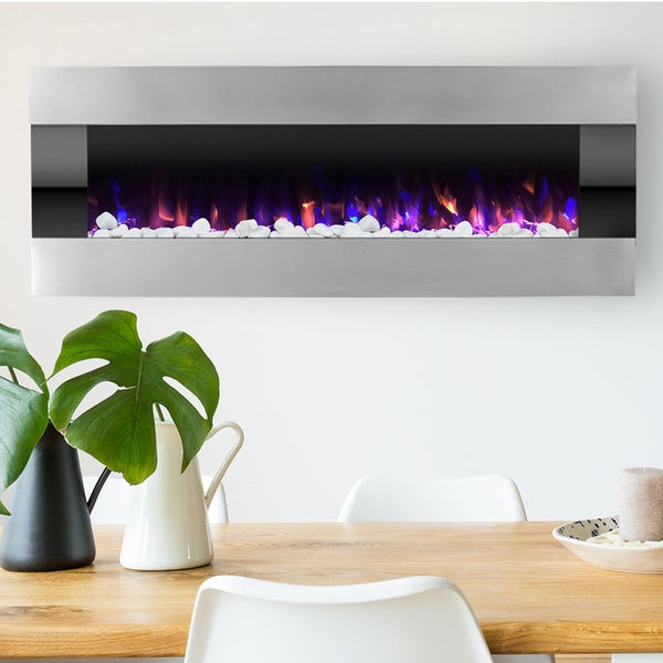 Shop Electric Fireplace Wall Mounted With Led Fire And Ice