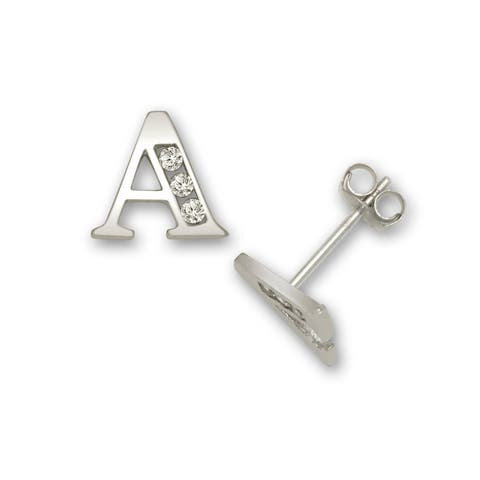 Solid 14k White Gold Channel-set Cubic Zirconia Initial Pair Earrings (A-Z)
