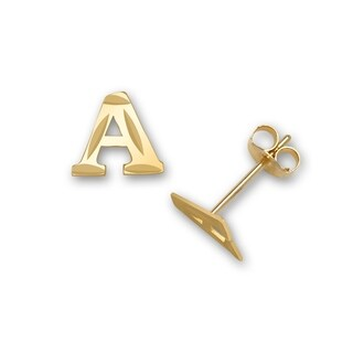 Solid 14k Yellow Gold Diamond-cut Initial Pair Earrings (A-Z) - Orange