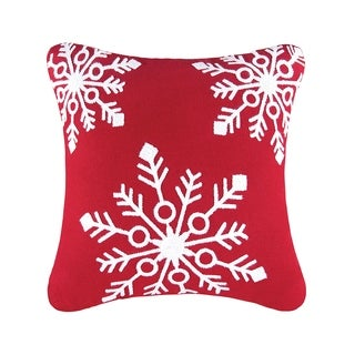 Snowflakes Red Rice Stitch Pillow 18x18