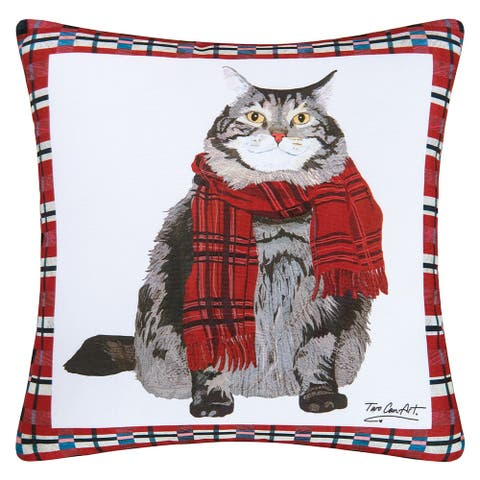 Fat Cat Winter Holiday Indoor/Outdoor 18x18 Throw Accent Decorative Accent Throw Pillow