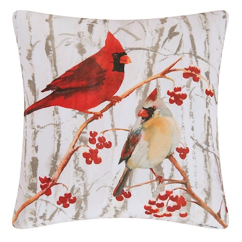 Cardinal Pair Printed 18 Inch Accent Decororative Accent Throw Pillow