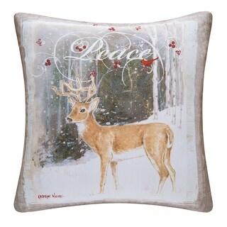 Peace Deer Indoor / Outdoor 18 Inch Throw Pillow