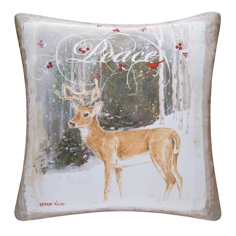Peace Deer Printed 18 Inch Accent Decorative Accent Throw Pillow