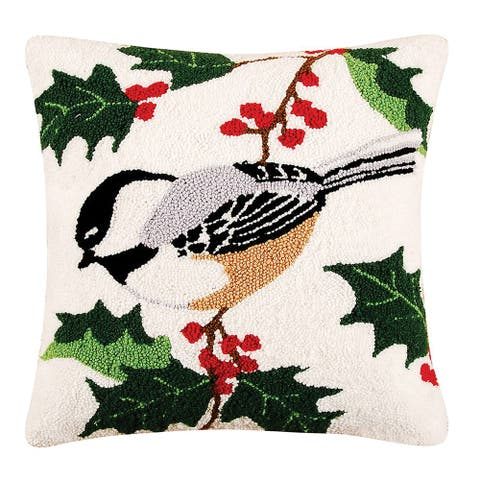 Chickadee Needlepoint 18 Inch Throw Decorative Accent Throw Pillow