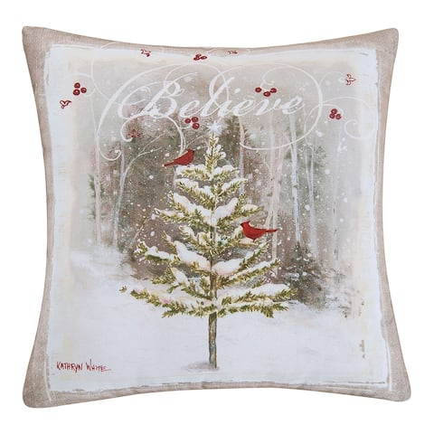 Believe Tree Printed 18 Inch Accent Decorative Accent Throw Pillow