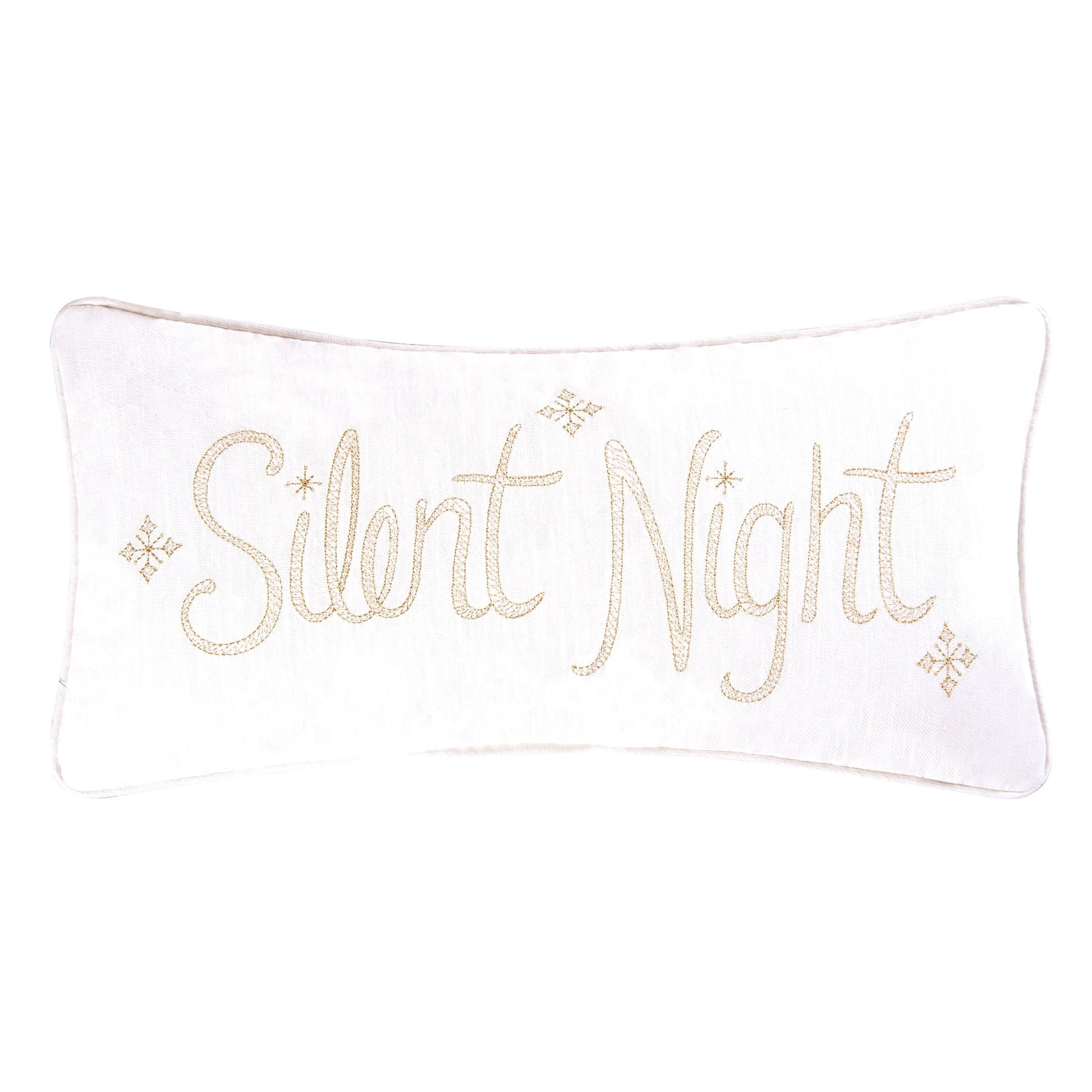Enterprises Silent Night Embroidered Pillow 10x20, Gold