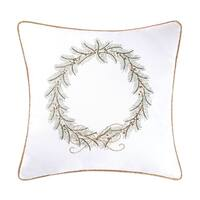 Golden Greenery Embroidered 18 Inch Throw Pillow