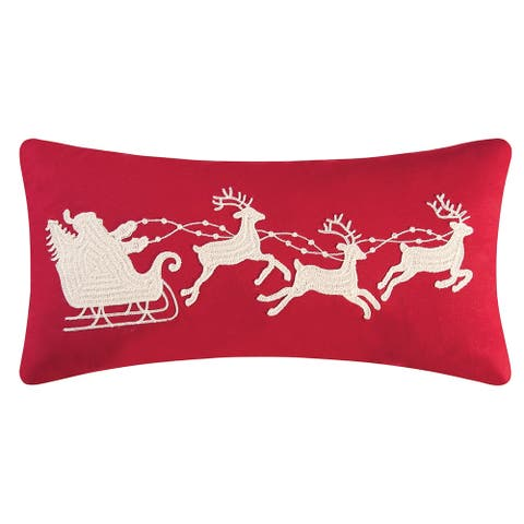 Santa Sleigh On Red Rice Stitch 12x24 Throw Decorative Accent Throw Pillow