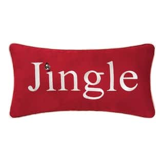 Red Jingle Embroidered 10x19 Throw Pillow