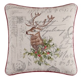 Holiday Buck Embroidered Pillow