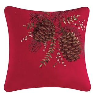 Pinecones Embroidered Pillow 18x18