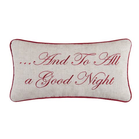 And To All A Good Night Embroidered 10x19 Throw Decorative Accent Throw Pillow