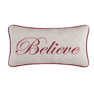 Believe Embroidered 10x19 Throw Pillow