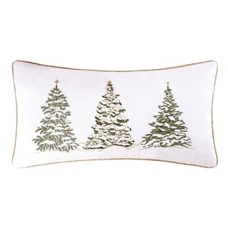 Golden Greenery Embroidered Christmas Tree Lumbar Throw Pillow
