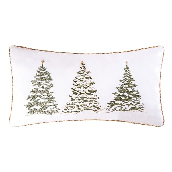 Golden Greenery Embroidered 12x24 Throw Pillow