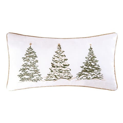 Golden Greenery Embroidered Christmas Tree Lumbar Throw Pillow