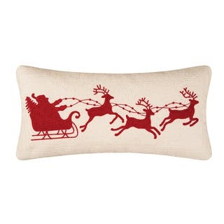 Santa Sleigh On Cream Rice Stitch 12x24 Throw Pillow