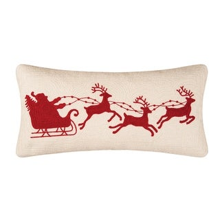 Santa Sleigh On Cream Rice Stitch 12x24 Throw Pillow