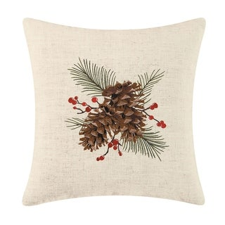 Pinecones Embroidered 18 Inch Throw Pillow