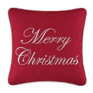 Merry Christmas Embroidered 16 Inch Throw Pillow
