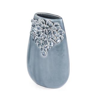 Elements 14in Gray Floral Taper Ceramic Vase