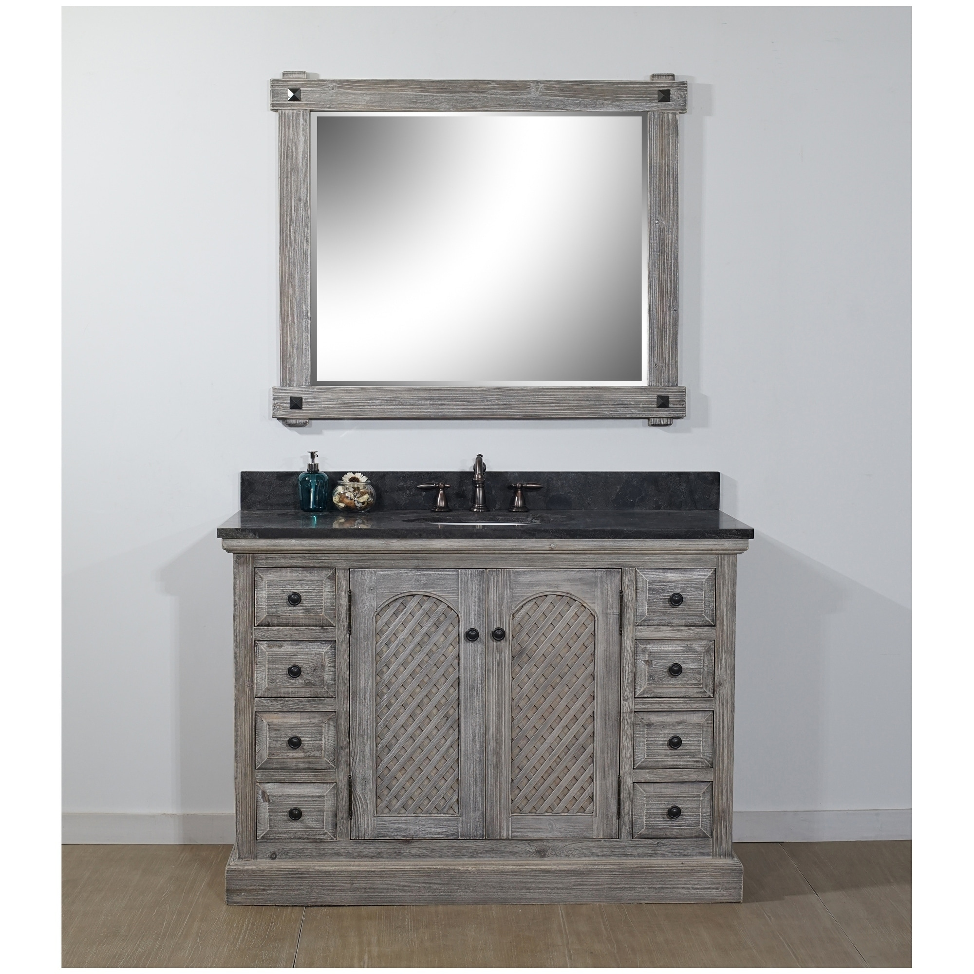 Shop For Rustic Style 48 Inch Bathroom Vanity In Distressed Grey Driftwood Finish With Limestone Top No Faucet Get Free Delivery On Everything At Overstock Your Online Furniture Outlet Store Get 5 In Rewards With Club O 18185159