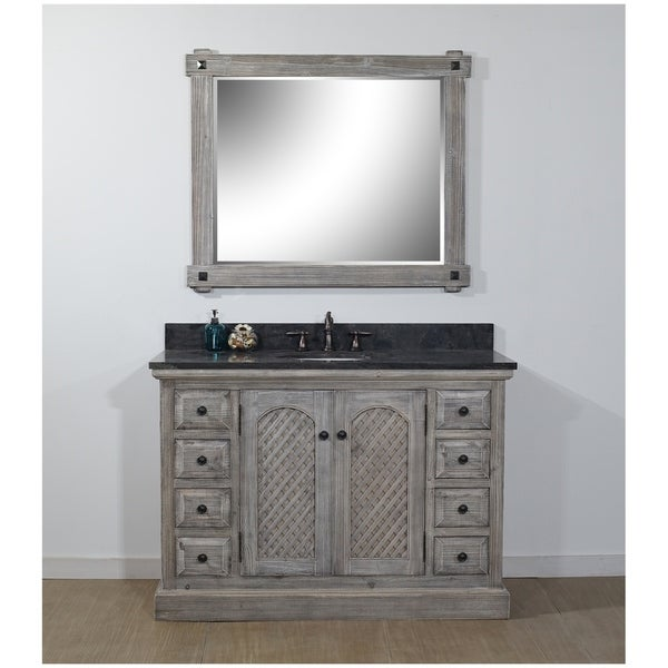 Shop Rustic Style 48-inch Bathroom Vanity In Distressed Grey-Driftwood Finish With Limestone Top